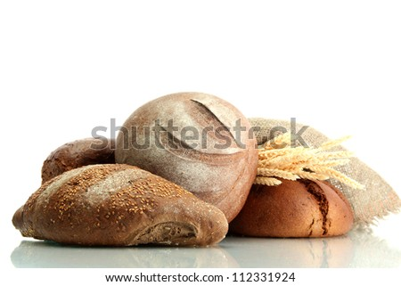tasty rye breads with ears, isolated on white - stock photo