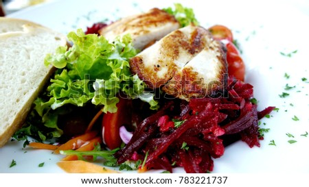 Tasty salad with chicken and beetroot