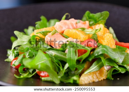 Tasty salad with salmon