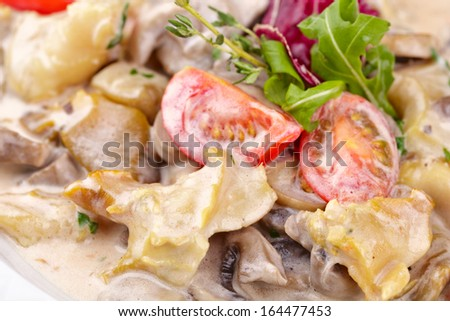 Tasty salad with seafood