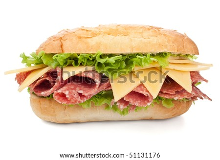 tasty salami, cheese and vegetables sandwich - stock photo