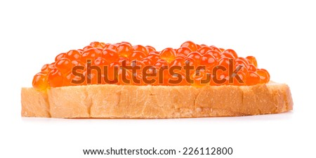Tasty sandwich with red caviar isolated on white background cutout