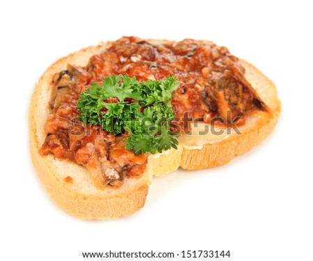 Tasty sandwich with sardines and tomato sauce, isolated on white - stock photo