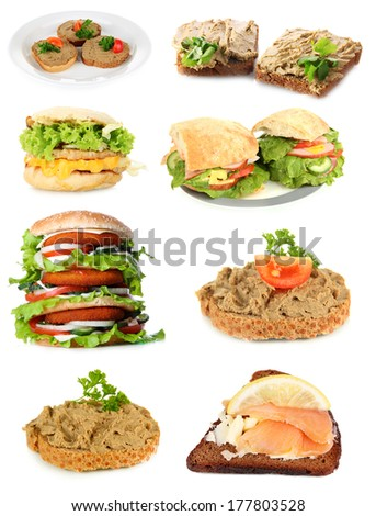 Tasty sandwiches isolated on white - stock photo