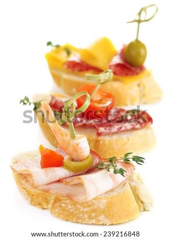 Tasty sandwiches, isolated on white - stock photo