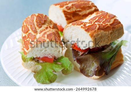 Tasty sandwiches with canned tuna, tomatoes and salad leaves on a white plate. Selective focus, main focus on a left sandwich - stock photo