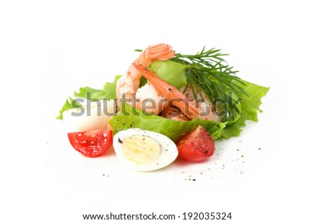 Tasty shrimps with tomatoes and eggs - stock photo