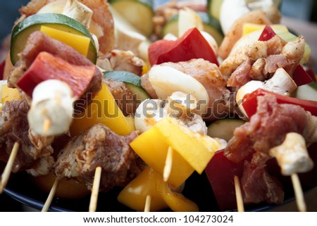 Tasty skewers on a barbecue