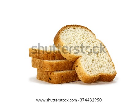 Tasty sliced bread for breakfast, lunch and dinner isolated on white background - stock photo