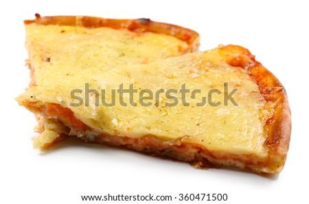 Tasty sliced pizza isolated on white. - stock photo