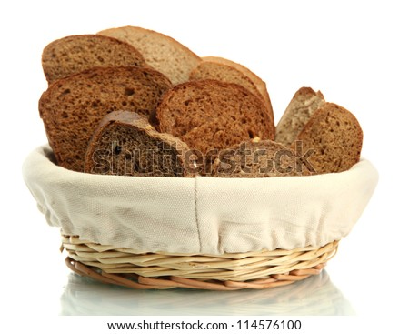 tasty sliced rye bread in basket, isolated on white - stock photo