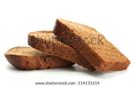 tasty sliced rye bread, isolated on white - stock photo