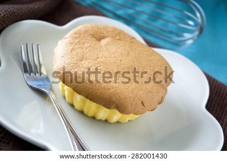 tasty sponge cake on dish - stock photo