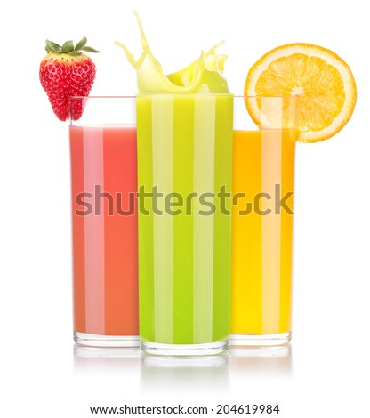 tasty summer fruit drinks in glass with splash isolated on a white background - stock photo