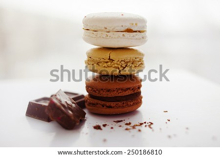 Tasty sweet homemade macaroni cookies, chocolate - stock photo