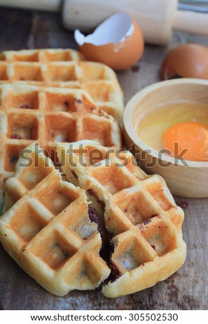 tasty sweet waffle with red beans