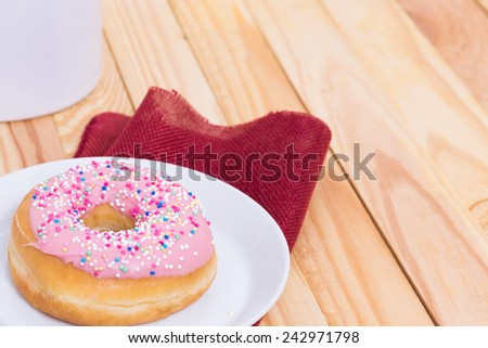 tasty sweets - pink donut - stock photo