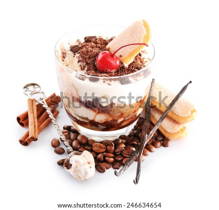Tasty tiramisu dessert in glass, isolated on white - stock photo