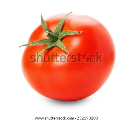 tasty tomato isolated on the white background - stock photo