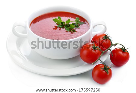 Tasty tomato soup, isolated on white - stock photo