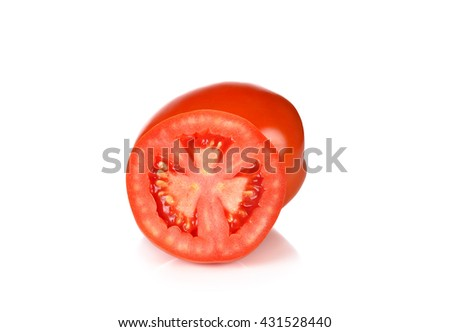 tasty tomatoes isolated on the white background. - stock photo