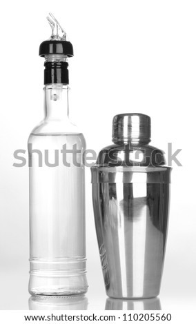 Tasty transparent cocktail isolated on white - stock photo