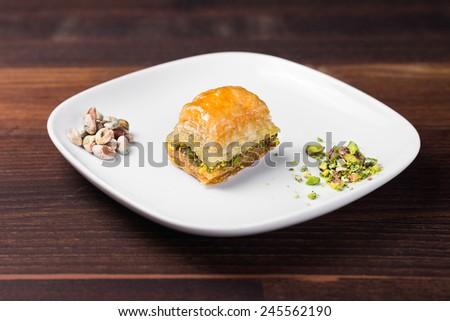 Tasty Turkish Baklava With Walnuts - stock photo