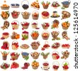 Tasty useful nutritional vegetables, fruits, berries in baskets , collection set , isolated on white background - stock photo