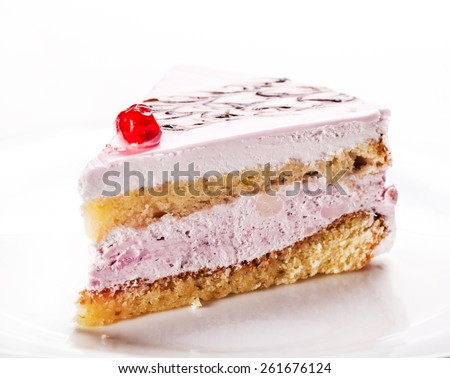 tasty vanilla slice of cake closeup on a white background - stock photo