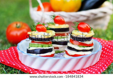 Tasty vegetable appetizer of tomatoes, eggplant, zucchini and white sauce on the background of the basket with ripe vegetables - stock photo