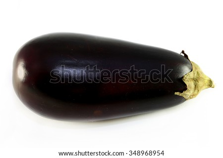Tasty vegetable eggplant photographed closeup on a white background - stock photo