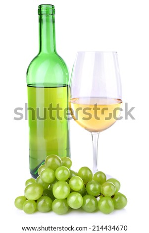 Tasty wine and ripe grape, isolated on white - stock photo