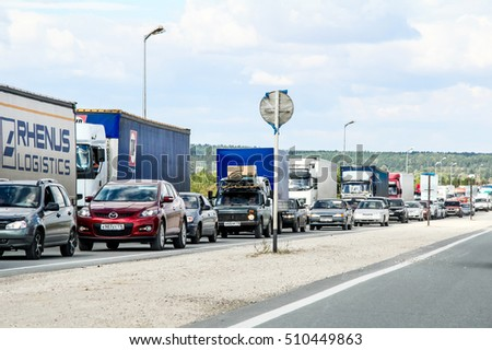 TATARSTAN, RUSSIA - AUGUST 27, 2011: Huge traffic congestion at the interurban freeway.