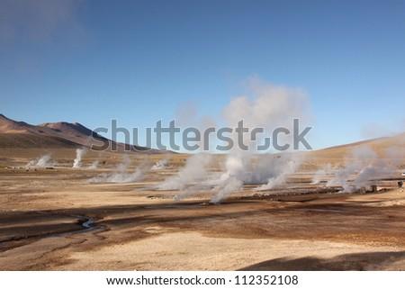 Tatio geysers in Atacama desert, Chile. - stock photo