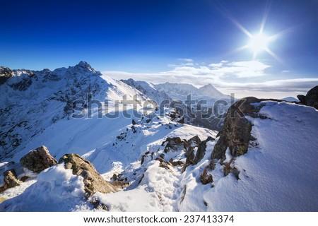 Tatra mountains in snowy winter time, Kasprowy Wierch, Poland - stock photo