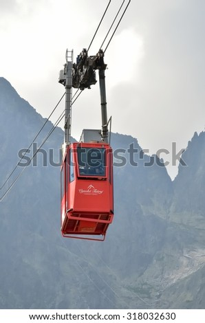 TATRANSKA LOMNICA, SLOVAKIA - AUGUST 6, 2015: Ropeway from Skalnate Pleso to Lomnicky Peak in High Tatra Mountains, Slovakia.