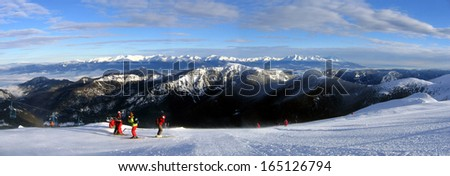 Tatras mountain ridge, from the top of Chopok mountain - stock photo