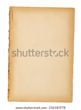 Tattered Old Paper Background With Shadow - stock photo