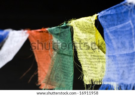 Tattered Tibetan Prayer Flags - stock photo