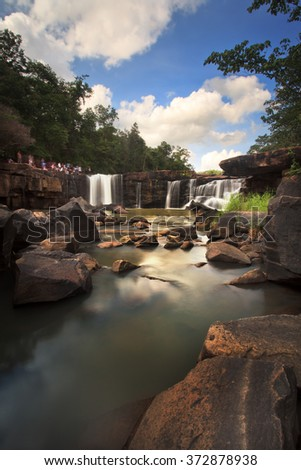 Tatton paradise Waterfall located in deep forest of Thailand, Long exposure shot. - stock photo