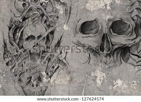 Tattoo art,2 biomechanical demons over grey background, Sketch - stock photo