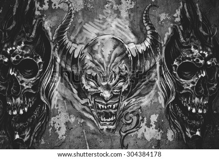 Tattoo art, 3 demons over grey background, Sketch - stock photo