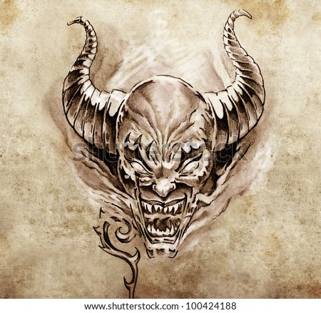 Tattoo art, sketch of a devil with big horns - stock photo