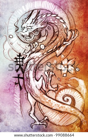 Tattoo art, sketch of a japanese dragon over colorful paper - stock photo