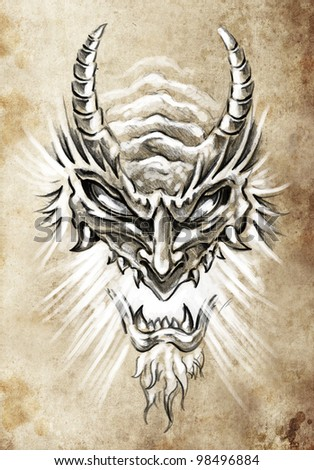 Tattoo art, sketch of a japanese monster mask - stock photo