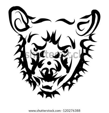 tattoo bear - stock photo