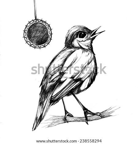 tattoo bird on a twig - stock photo