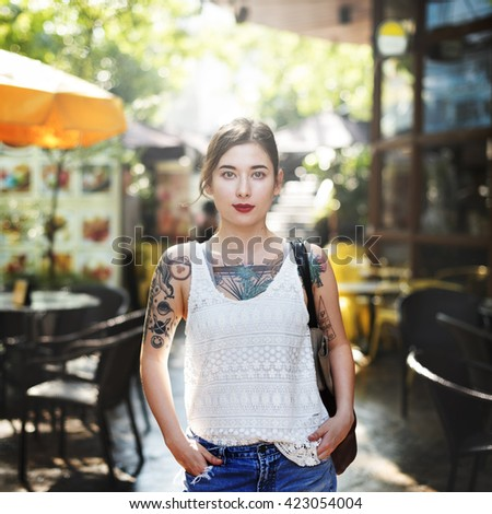 Tattoo Cheerful Asian Ethnicity Calm Casual Concept - stock photo