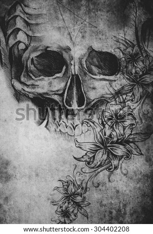 Tattoo design with skull with flowers on old paper - stock photo