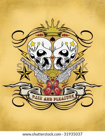 tattoo guns and skulls crest - stock photo